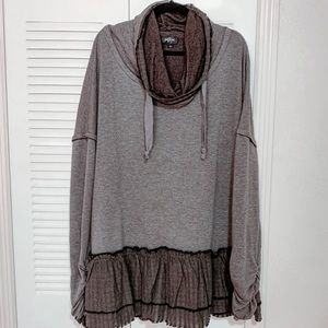NWOT Boutique Charcoal Cowl Neck Tunic